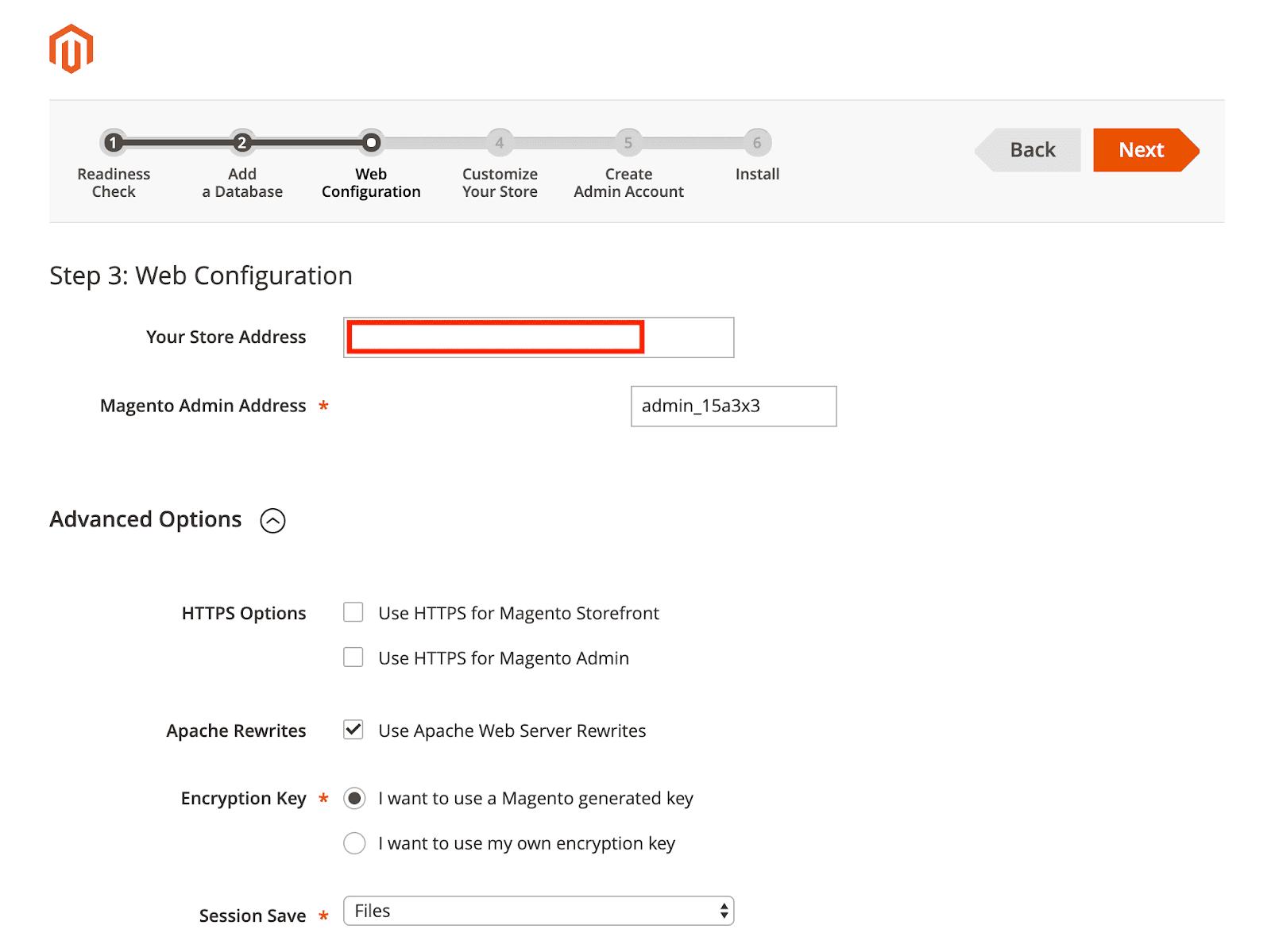 Magento Web Configuration